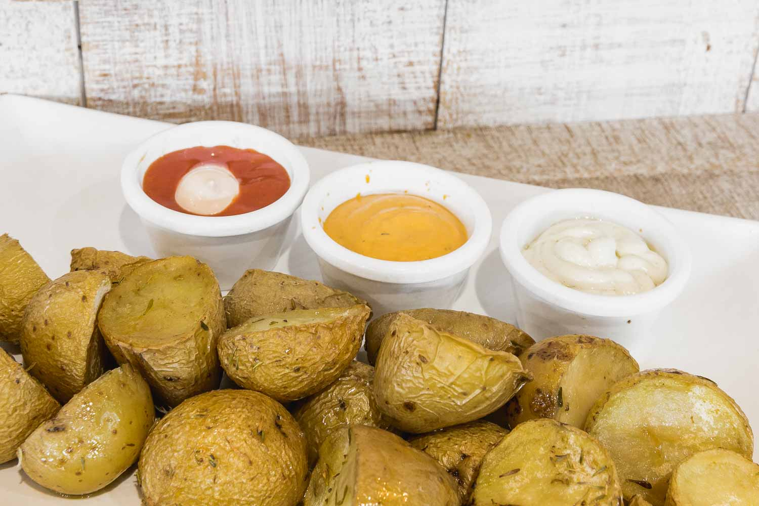 Potatoes with 3 sauces