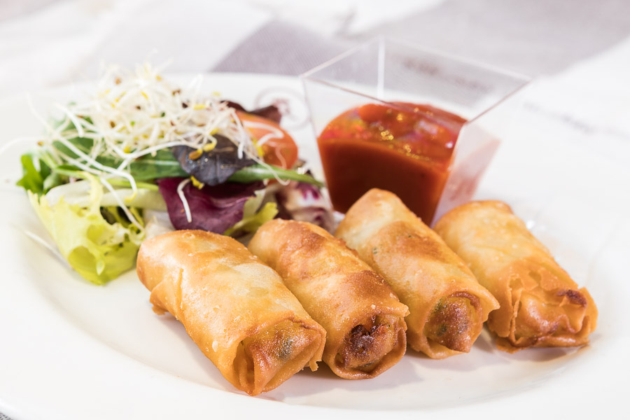 Mini spring rolls with red soy sauce