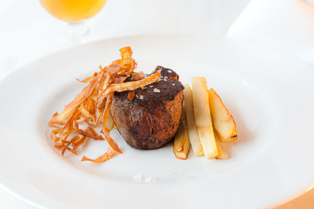 Grilled beef sirloin with parsnip in textures